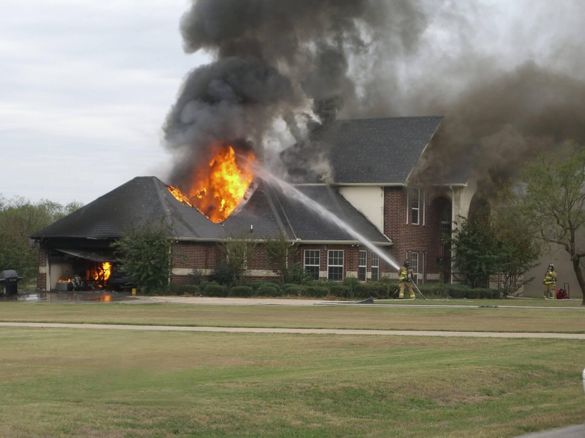 A Burning House & Fireman