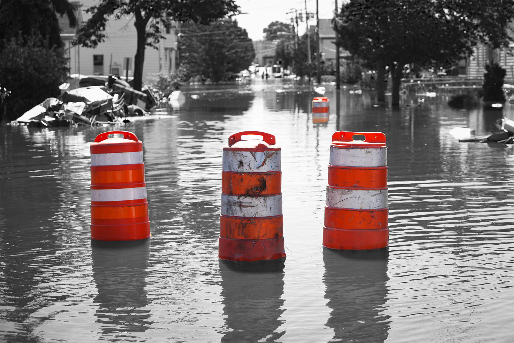 Flooded Road & barricades