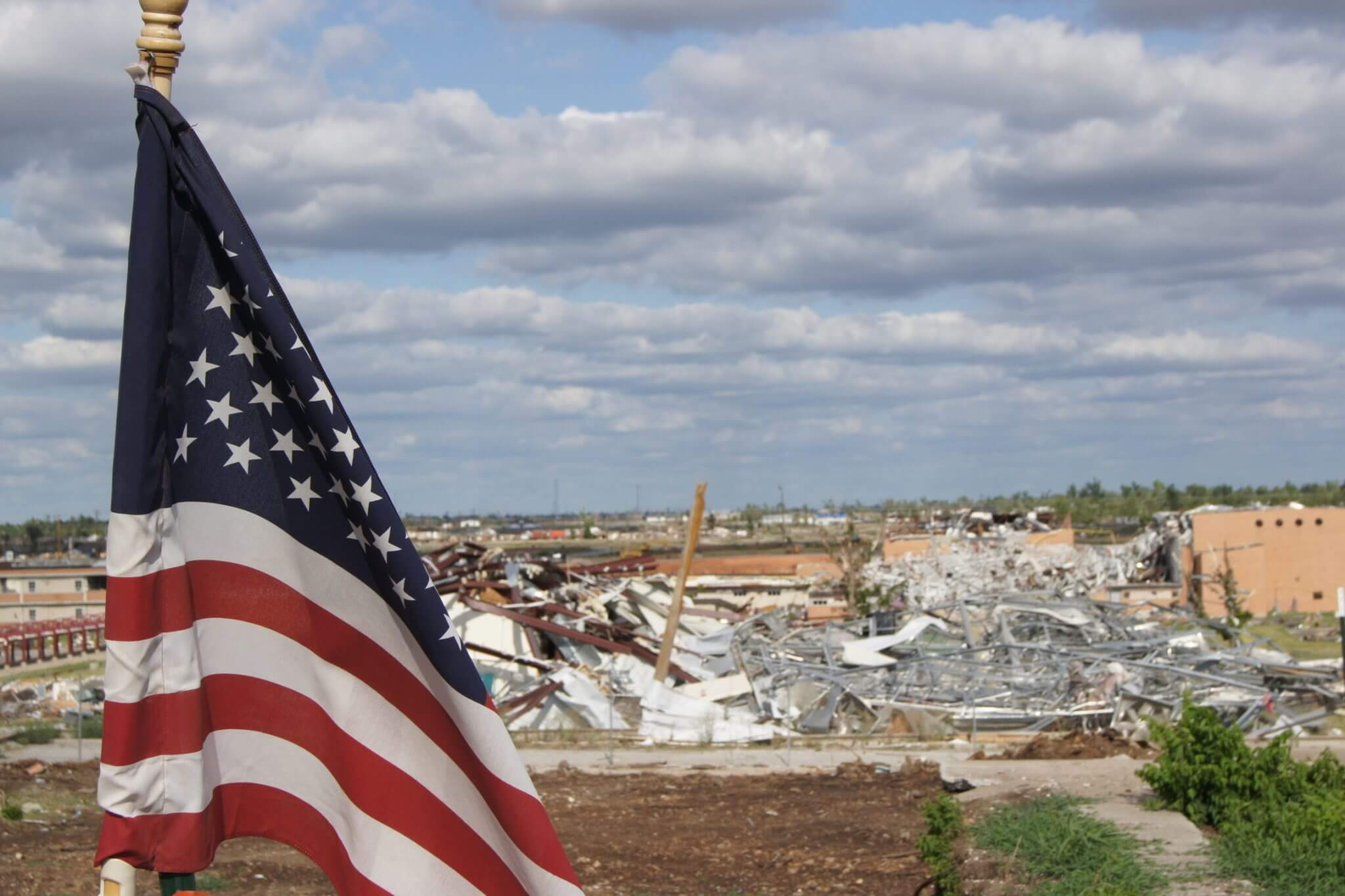 US National Flag and Debris 1