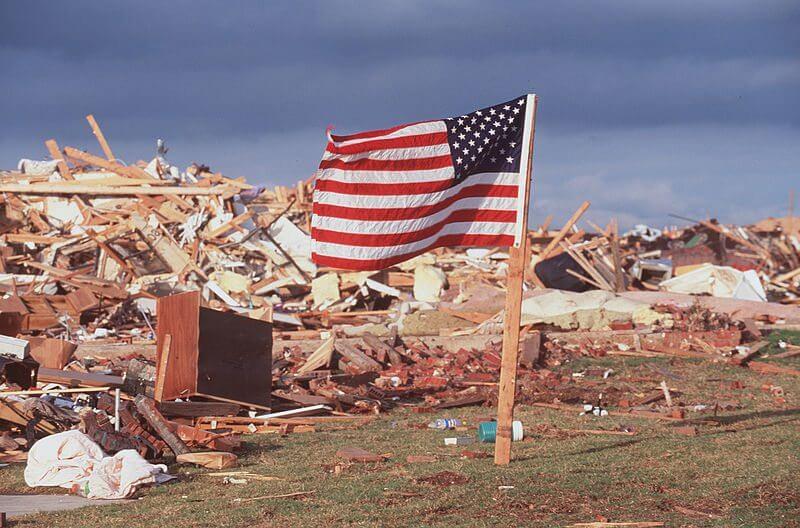 US National Flag and Debris 2